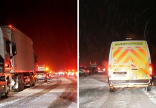 Traffic jam seen during a snow flurry on the A30