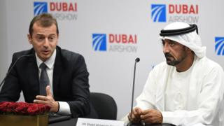 Airbus CEO Guillaume Fowry and Emirates Chairman Ahmed bin Said Al Maktoum