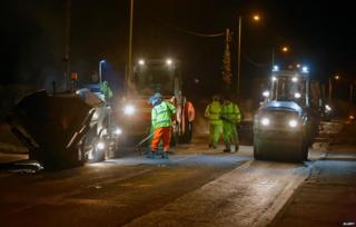 roadworks late at night in Suffolk, UK