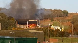 The fire at the recycling plant