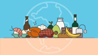 illustration of food items for climate change impact calculator