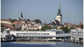 A view of the harbour in the Estonian capital Tallinn