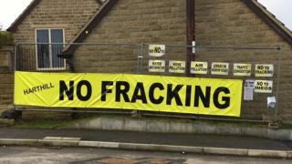 Anti-fracking sign in Harthill, near Rotherham
