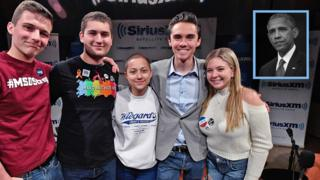 Cameron Kasky, Jaclyn Corin, David Hogg, Emma González and Alex Wind stand in a line with their arms around one another. Inset shows Barack Obama.