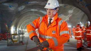 George Osborne visits the Crossrail station construction site at Tottenham Court Road in central London