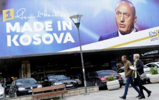 A billboard shows Ramush Haradinaj, leader of the Alliance for the Future of Kosovo (AAK) in Pristina