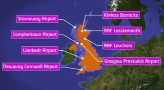 Map of UK showing spaceport location options