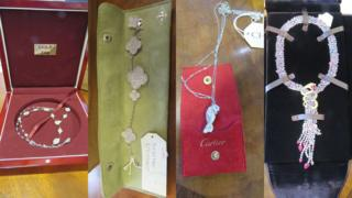 The jewellery seized by officers: A diamond cluster and bar necklace, a magic Alhambra bracelet, a diamond Panthere pendant and a sapphire and ruby serpent pendant