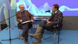 Rhun ap Iorwerth (right) with Radio Cymru presenter Dewi Llwyd