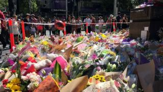 Flowers laid in Melbourne's Bourke St Mall after Friday's tragedy