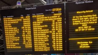 Departures board at Leeds