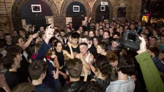 Laurie Vincent of local band Slaves gets up close and personal with fans at the Tunbridge Wells Forum