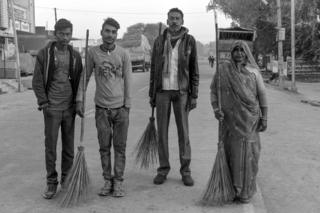 Sanitation workers in Amanganj in Panna district, India