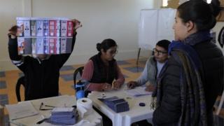 Una casilla de votación en Bolivia.