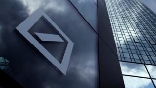 Deutsche Bank logo on Frankfurt HQ building