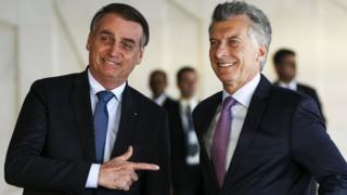 Bolsonaro y Macri en el Palacio del Planalto.