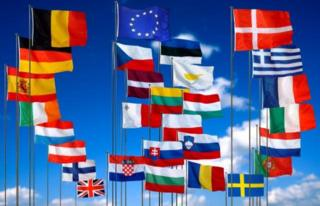 Flags of all the EU member countries