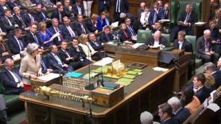 Theresa May speaking in Brexit debate