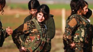 Fighters from the Kurdish women's protection units in northern Syria