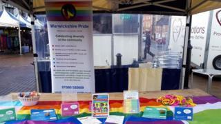 Warwickshire Pride stall in Stratford-upon-Avon