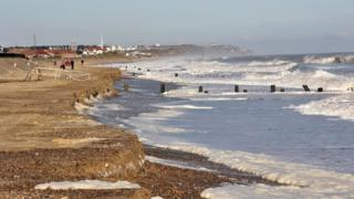 Section of Norfolk coast near Bacton Refinery after much of the sandscaping has been washed away.