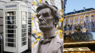 A composite image of a cream telephone box, Abraham Lincoln statue and the Savoy Hotel