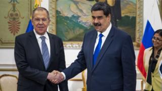 Sergéi Lavrov, Nicolás Maduro y Delcy Rodríguez