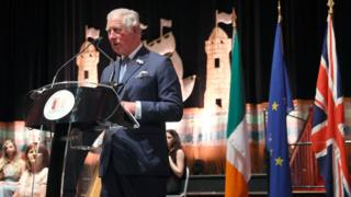 The Prince of Wales gives a speech during a civil reception at Cork City Hall as part of his visit