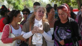 "Relatives of victims of the Boeing 737 plane that crashed after taking off from Havana""s main airport - 19 May 2018"