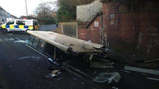 Bus crash in Leeman Road