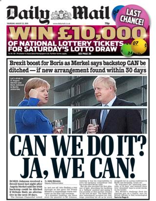 Daily Mail front page 22/08/19