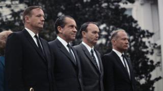 Armstrong, Nixon, Collins y Aldrin