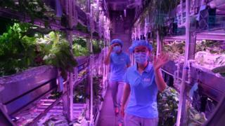 Dos de las estudiantes voluntarias en el Palacio Lunar