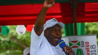Evariste Ndayishimiye pumping fist in the air
