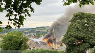 Bethel Community Church in Newport on fire
