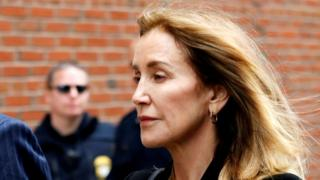 Felicity Huffman arrives to court