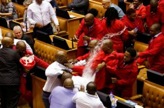 Party leader Julius Malema and members of his Economic Freedom Fighters (EFF) clash with parliamentary security as they are evicted from the chamber in Cape Town, South Africa