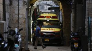 Ambulance at scene of stabbing in Jerusalem's Old City (18/03/18)