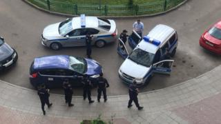 An image shared on Twitter appears to show Alexei Navalny being detained by authorities