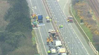 Congestion on the A55 after a chemical spill