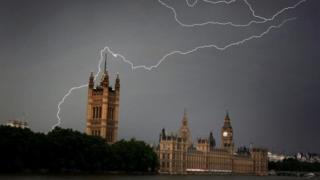 Parliament struck by lightning