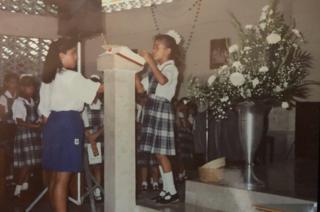 Biani López Antúnez, em foto na escola dos Legionários de Cristo, no México