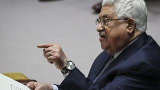 محمود عباس أثناء الخطاب