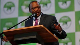 Uhuru Kenyatta speaks after being announced the election winner