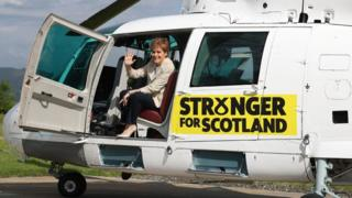 Nicola Sturgeon in helicopter