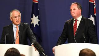 Malcolm Turnbull and Barnaby Joyce address journalists in 2016