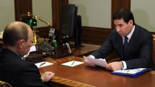 бывший губернатор Челябинской области Михаил Клементьев и президент России Владимир Путин