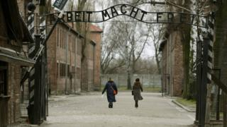 "The gates at Auschwitz I camp, with the infamous inscription ""Arbeit Macht Frei"" - work will set you free"