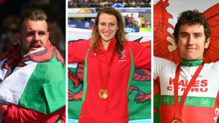 Welsh athletes Aled Sion Davies, Jazz Carlin and Geraint Thomas