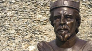 A bronze bust of William the Conqueror which was unveiled at Berkhamsted Castle